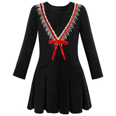 Girls Dress School Uniform Back School Long Sleeve Bow Tie Dress Size 4-10 Years