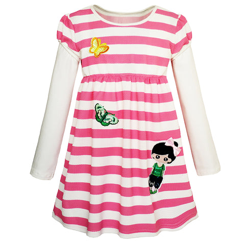 Girls Dress Cute Butterfly Striped 2-in-1 Top Dress Size 2-8 Years