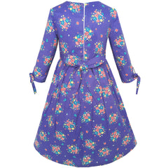 Girls Dress Purple Flower 3/4 Sleeve Princess Party Dress Size 4-12 Years