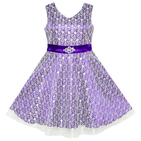 Flower Girls Dress Lace Sparkling Diamond Wedding Pageant Size 7-14 Years