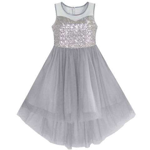 Girls Dress Gray Sequined Tulle Hi-lo Wedding Party Dress Size 7-14 Years
