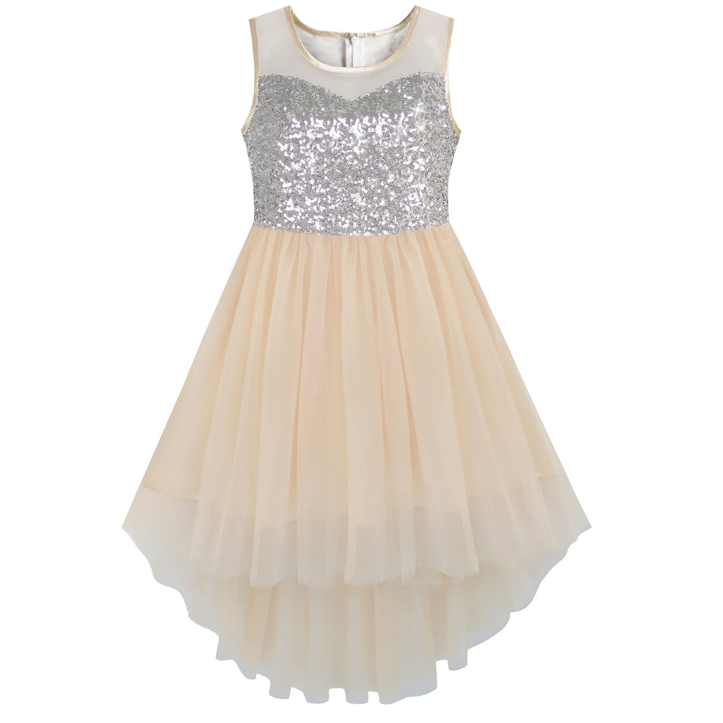 Girls Dress Beige Sequined Tulle Hi-lo Wedding Party Dress Size 7-14 Years