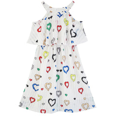 Girls Dress Colorful Heart Print Cold Shoulder Party Dress Size 4-12 Years