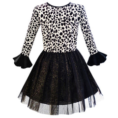 Girls Dress Leopard Sparkling Tulle Skirt Fall Winter Dress Size 5-12 Years