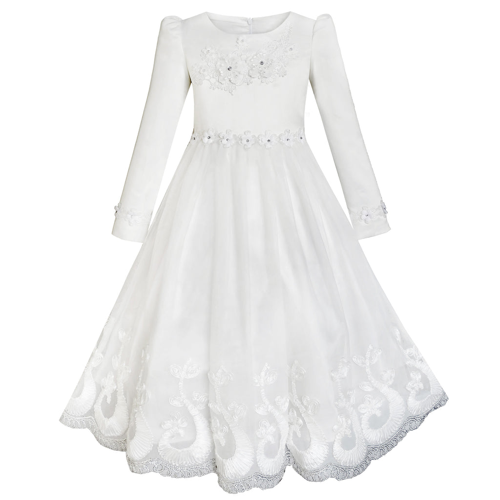 Flower Girls Dress Lace Hem Wedding First Communion Size 6-14 Years