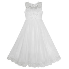 Flower Girls Dress Lace Hem Butterfly Wedding First Communion Size 7-14 Years