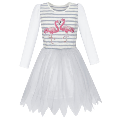 Girls Dress Grey Tulle Long Sleeve Crane Striped Size 5-12 Years