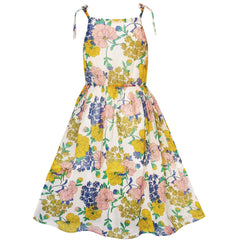 Girls Dress Yellow Flower Gold Striped Beach Party Dress Size 7-14 Years