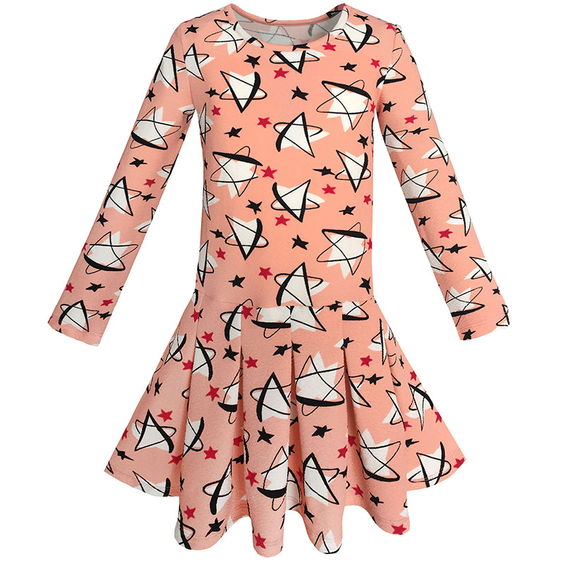 Girls Dress Star Print Coral Everyday School Spring Dress Size 4-10 Years