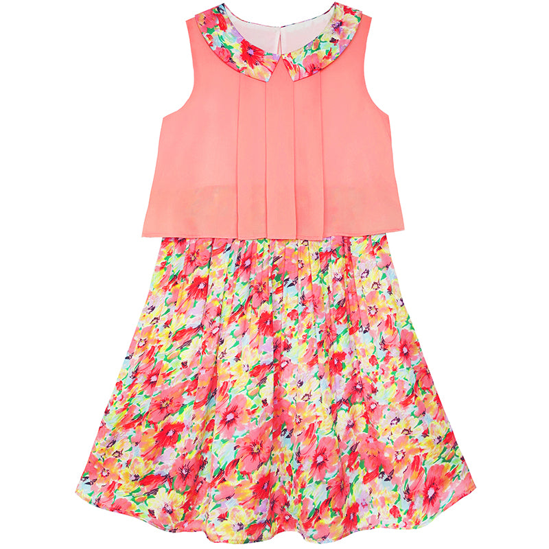 Girls Dress 2-in-1 Collar Flower Party Birthday Sundress Size 7-14 Years