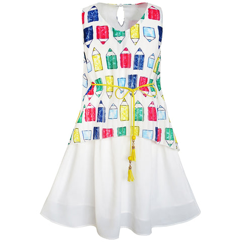 Girls Dress Cartoon Colorful Pencil Sash 2-in-1 Sundress Size 5-12 Years