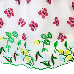 Girls Dress Butterfly Party Birthday Sundress Size 5-12 Years
