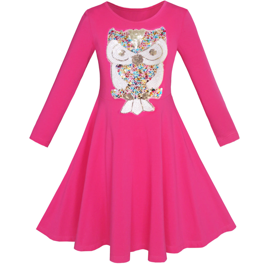 Girls Dress Owl Ice Cream Butterfly Sequin Everyday Dress Size 7-14 Years