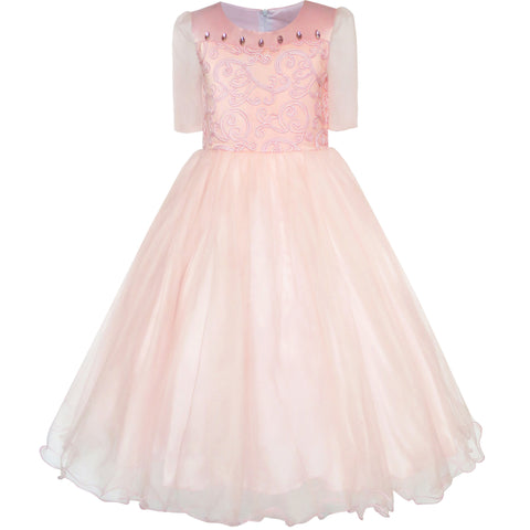 Flower Girls Dress Misty Rose Wedding Pageant Bridesmaid Size 7-14 Years