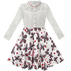 Girls Dress Lace Pearl Plum Blossom Elegant Princess Dress Size 7-14 Years