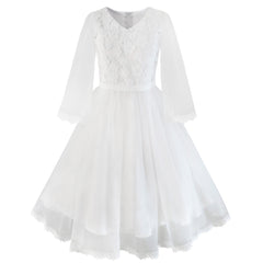 Flower Girls Dress White Wedding Pageant Bridesmaid Gown Size 4-14 Years