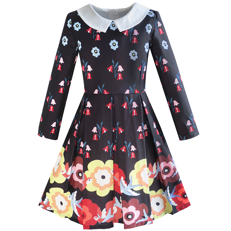 Girls Dress Fit-and-flare Flower Print Party Long Sleeve Cute Size 6-14 Years