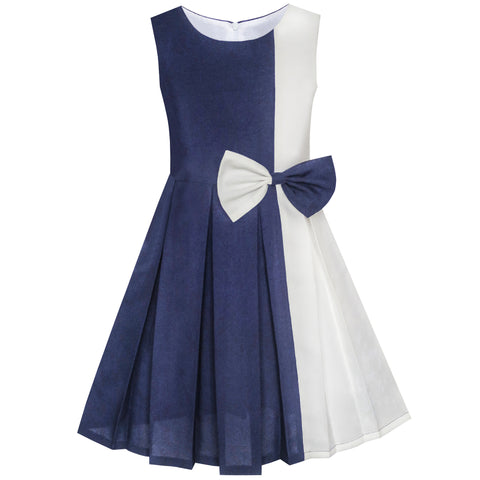 Girls Dress Color Block Contrast Bow Tie Everday Party Size 4-14 Years