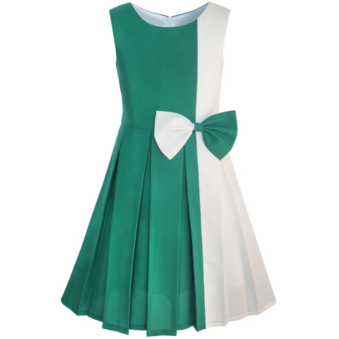 Girls Dress Color Block Contrast Bow Tie Everyday Party Size 4-14 Years