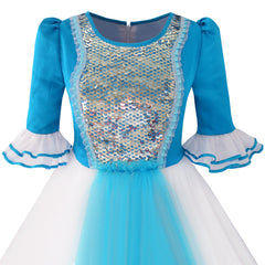 Girls Dress Snow White Princess Cartoon Mermaid Party Costume Ball Size 7-14 Years