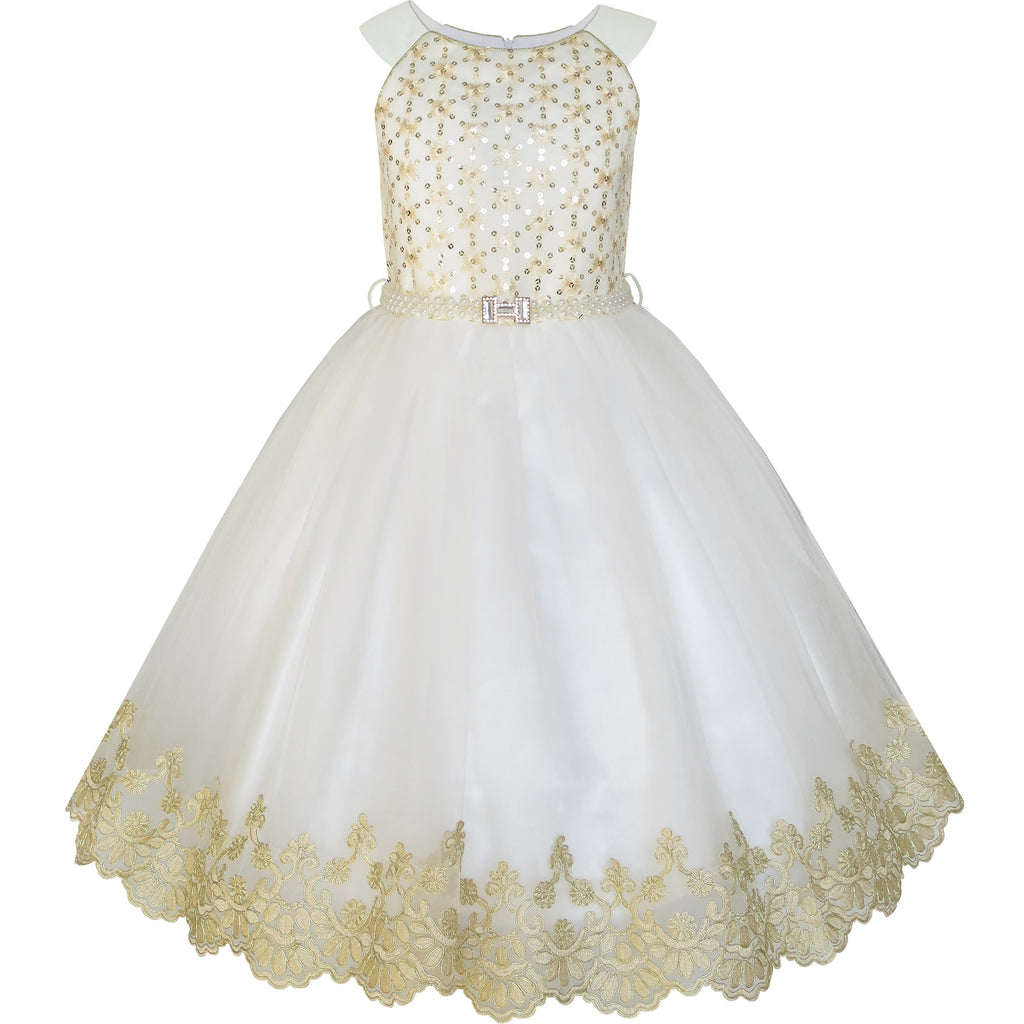 Flower Girls Dress Champagne Sequin Pearl Wedding Pageant Size 6-12 Years