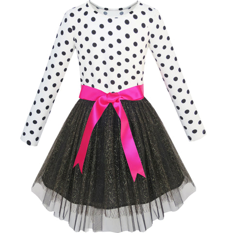 Girls Dress Long Sleeve Tutu Skirt Bow Tie Party Size 6-12 Years