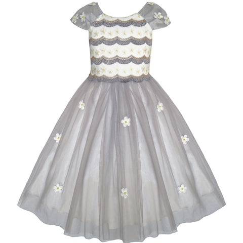 Flower Girls Dress Dimensional Flower Wedding Party Pageant Size 7-14 Years