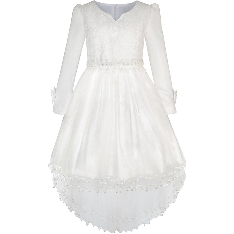 Flower Girls Dress Lace Hi-lo Wedding Pageant Communion Size 7-14 Years