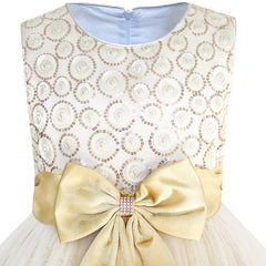 Flower Girls Dress Bow Tie Champagne Sequin Wedding Pageant Size 2-10 Years