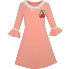 Girls Dress Lotus Leaf Sleeve Cherry Embroidery Everyday Size 3-10 Years