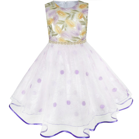 Flower Girls Dress Champagne Leaf Purple Dot Wedding Pageant Size 2-10 Years