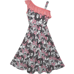 Girls Dress One-Shoulder Flower Sundress Party Birthday Size 7-14 Years