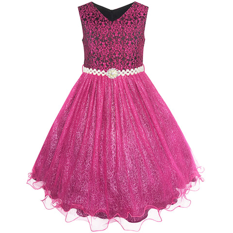 Flower Girls Dress Sparkling Pearl Flowers Pageant Wedding Tulle Size 3-14 Years