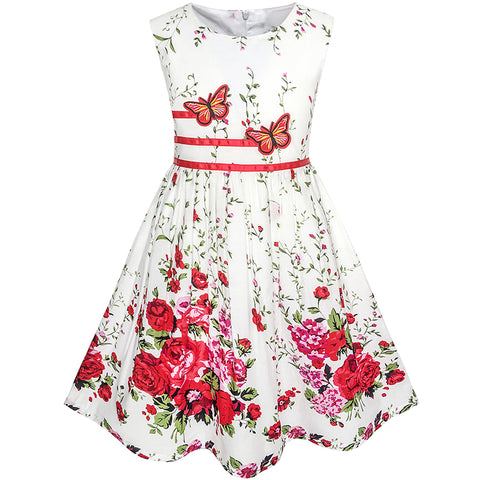Girls Dress Butterfly Flower Sundress Party Size 4-12 Years
