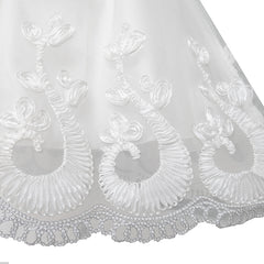 Flower Girls Dress Lace Hem Long Sleeve Wedding First Communion Size 5-12 Years
