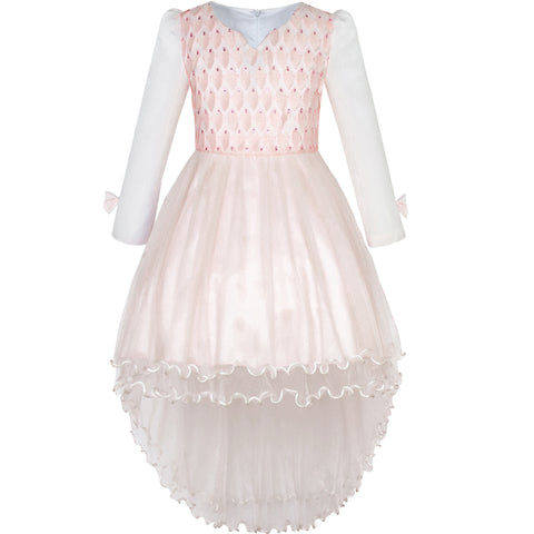 Flower Girls Dress Lace Hi-lo Wedding Pageant Party Size 7-14 Years