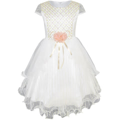 Flower Girls Dress Shinning Wedding Pageant Party Dress Size 3-10 Years