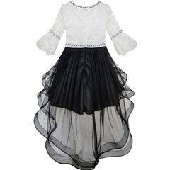 Girls Dress White And Black Hi-lo Party Dancing Pageant Size 6-14 Years