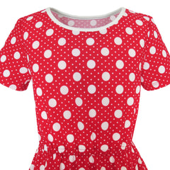 Girls Dress Red Dot Short Sleeves Summer Beach Size 3-12 Years