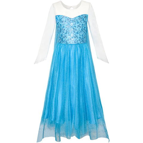 Girls Dress Cartoon Costume Princess Elsa Sparkling Party Size 3-12 Years