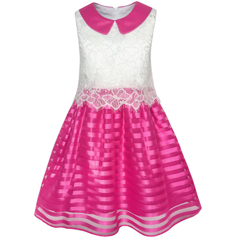 Girls Dress Red Blue Lace Stripe Collar Party Size 4-10 Years