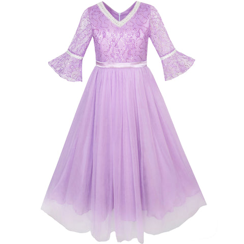 Girls Dress Lace Sequin V-neckline Pageant Wedding Size 4-14 Years