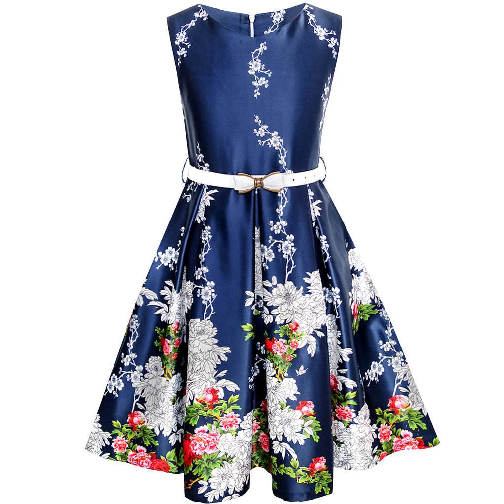Girls Dress Navy Blue Flower Belt Vintage Party Size 6-14 Years