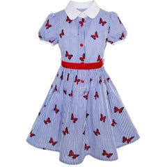 Girls Dress School Blue Strip Butterfly Print Gingham Size 4-10 Years