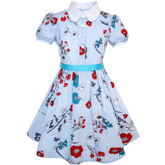 Girls Dress School Blue Strip Floral Print Gingham Size 4-10 Years