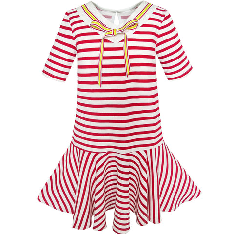 Girls Dress Striped School Bow Tie Jumper Size 5-12 Years