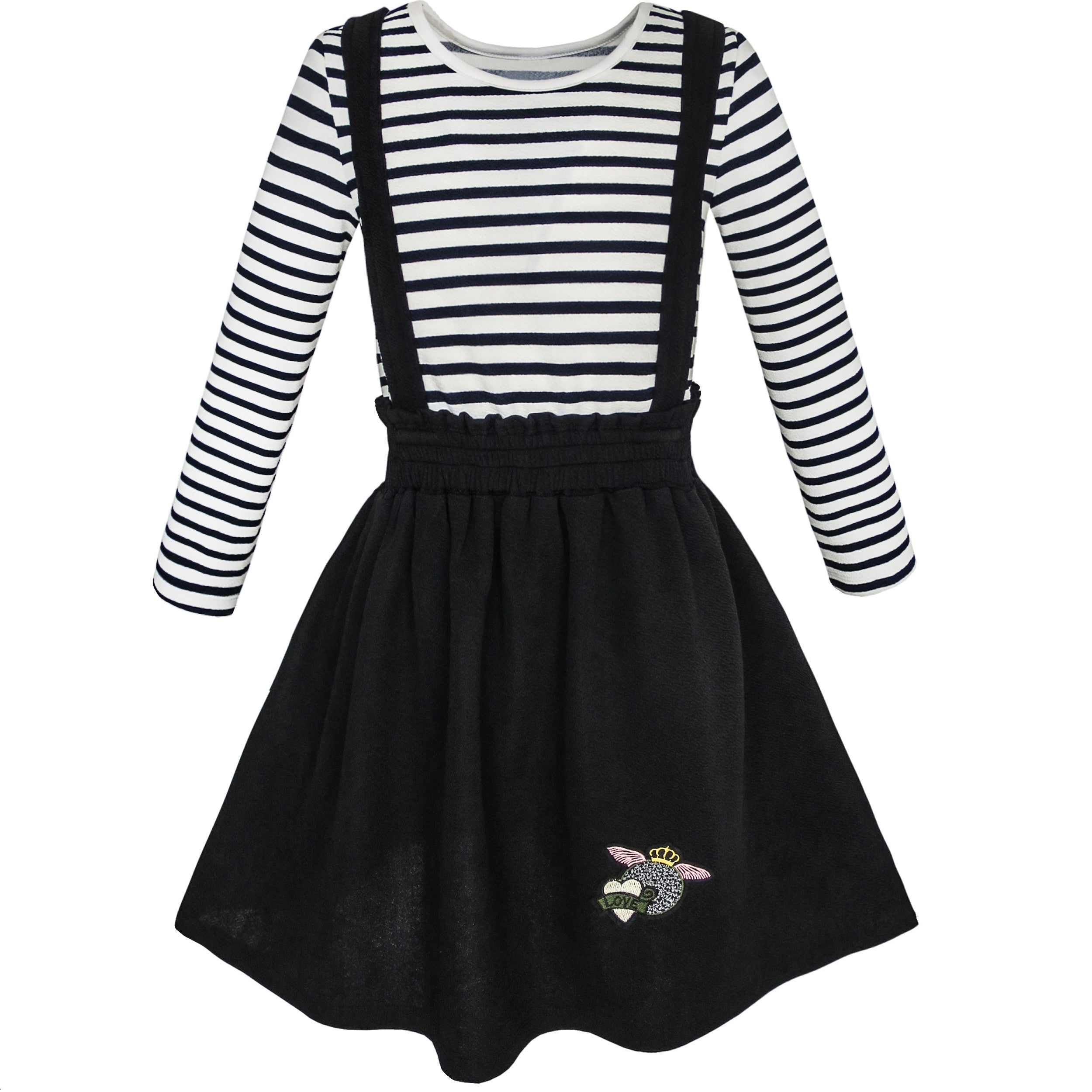 Girls dresses with striped pattern sunny fashion 2 pieces set girls dress t shirt suspender skirt school size 4 12 years mightylinksfo
