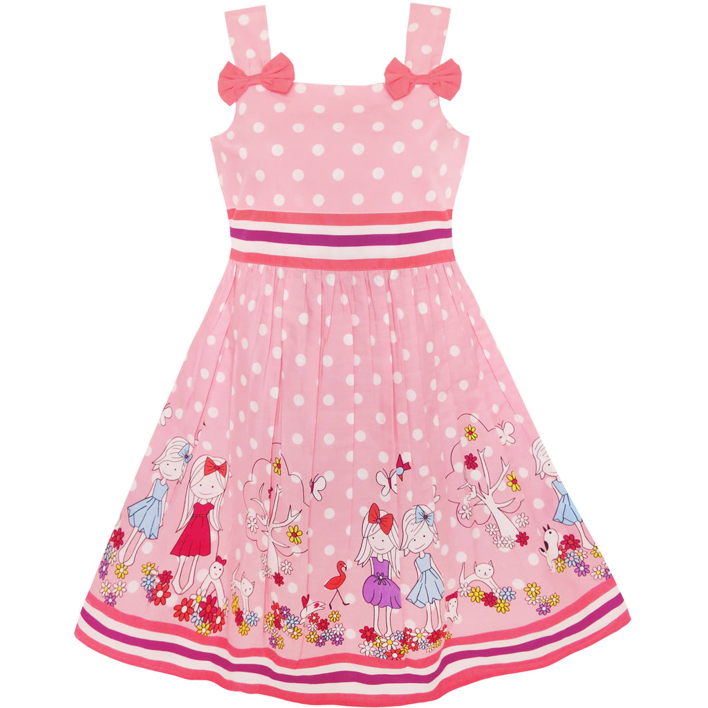 Girls Dress Cartoon Polka Dot Bow Tie Summer Size 2-8 Years
