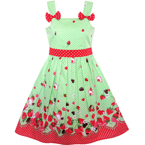 Girls Dress Cartoon Polka Dot Bow Tie Strawberry Size 2-8 Years