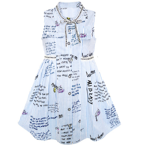 Girls Dress School Letter Print Sleeveless Ruffle Dress Size 4-10 Years